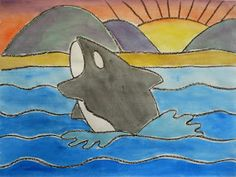a faithful attempt: Whale Watchers Watercolor Landscape (End of the Year) Sea Life Art, Sea Art, Snail And The Whale, Animal Art Projects, 4th Grade Art, Scratch Art, Whale Art, Chalk Pastels, Watercolor Landscape