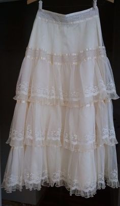 Vintage Style Womens Skirt Ivory White Lace Long Layers Tiers Romantic Small 4-6 #Unknown #ALine