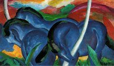 Grandes Caballos Azules, 1911. Autor: Franz Marc, 1880 Alemania, a 1916 Francia, integrante del grupo Der Blaue Reiter (El Jinete Azul) creado en 1911 hasta 1914. Marc consigue transmitir muy bien los movimientos y las posturas de los animales, sin darle importancia a la anatomía. Franz Marc considera la pintura como una actividad espiritual.