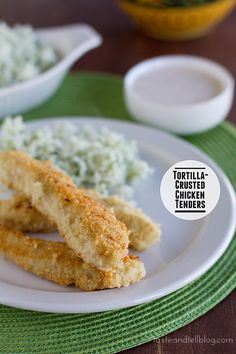 Tortilla-Crusted Chicken Tenders with Southwestern Dipping Sauce | www.tasteandtellblog.com