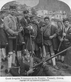 Greek volunteer irregular soldiers on the frontier, Thessaly, Greece during the Greco-Turkish War of Greece History, Turkish Military, Old Greek, Greek Warrior, Still Picture, Photographs Of People, Lightning Strikes, World War One, Ottoman Empire