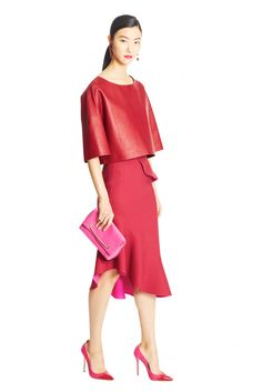 I have some red leather to sell soon ! Oscar de la Renta Pre-Fall 2015