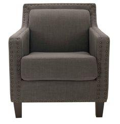 grey club chair nailhead