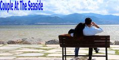 Couple At The Seaside ...  beach, clouds, couple, gazing, hug, in love, love, nature, romantic, sand, sea, sun, sunset, view, young