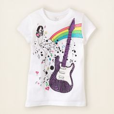 girl - graphic tees - guitar notes graphic tee | Children's Clothing | Kids Clothes | The Children's Place