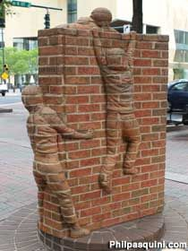'Life is an Open Book' by Brad Spencer shows brick children climbing an open brick book; Charlotte, NC - photo by Phil Pasquini Stained Brick, Literary Themes, Art In The Park, Brick And Wood, Installation Art, Art Installations, Call Art, Roadside Attractions, Open Book
