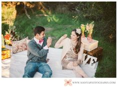 Valentine's Day Inspired Picnic Styled Engagement Shoot | Orange County Wedding Photographer | Manya Photography