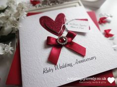 Beautiful Personalised Ruby Wedding Anniversary Card by justsimplylovely on Etsy