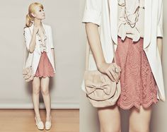 Cmg Loafer Heels, Mango Lace Skirt, Topshop Ruffle Top, Blazer, Zara Ribbon Bag, Accessories