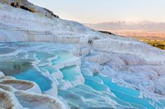 Pamukkale, Turkey      Pamukkale is aptly named, as it means cotton castle in Turkish.