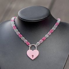 Chainmaille BDSM Submissive Slave Collar with hearth padlock