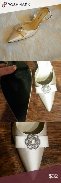 Karen Scott heels Gorgeous champagne color heels by Karen Scott, rhinestone bow detail, EUC! Karen Scott Shoes Heels