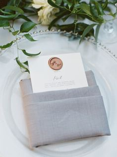 Wax seal menu: http://www.stylemepretty.com/washington-dc-weddings/2016/12/29/stunning-lace-dress/ Photography: Simply Sarah - http://simplysarah.me/