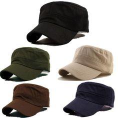 bc131f440c8 Fashion Men Classic Army Plain Vintage Hat Cadet Military Patrol Adjustable  Cap Classic Army