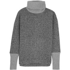 J.Crew Cashmere-trimmed fleece turtleneck sweater (410 AUD) ❤ liked on Polyvore featuring tops, sweaters, grey, gray top, turtle neck sweater, fleece turtleneck, turtleneck sweater and fleece sweater
