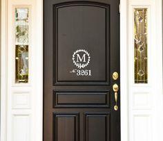 Monogram House Number Front Door  Vinyl Decal by WelcomingWalls, $12.00