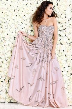 Rose Embellished Strapless Evening Gown With Flutters 1155