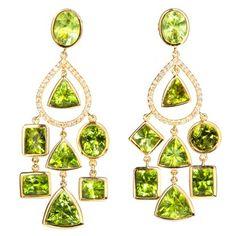 Pakistani peridot chandelier earrings by Emma Quist Jewelry.