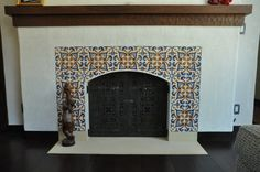 Best Free spanish Fireplace Tile Concepts The time for those exposed bricks framing your fireplace, making use of their pocked faces and rusti Tile Around Fireplace, Fireplace Tile Surround, Slate Fireplace, Candles In Fireplace, Fireplace Remodel, Fireplace Surrounds, Fireplace Design, Fireplace Ideas, Fireplace Mantles