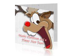 Kerstkaart cartoon lachend hert