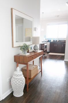 Check out these tips and tricks to create a functional entryway space without spending a lot of money. Happy House, Indoor Outdoor Living, Find Furniture, Entryway Tables, Living Room Decor, Home Goods, House Plans, Glen Ellyn, Sweet Home