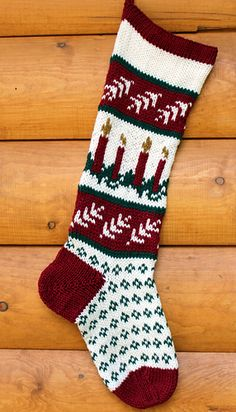 This delightful Christmas Stocking is knit using Fair Isle, (stranded color work). It also features a fabulous short row heel technique that will have no holes!
