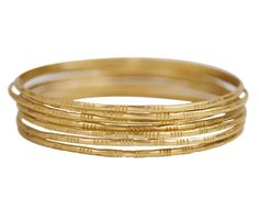 18K Gold Moroccan Bangles (Set of 7)
