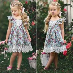 Toddler Kids Baby Girl Sleeveless Floral Party Pageant Dress Sundress Clothes | eBay