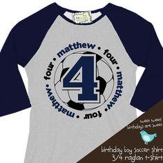 birthday boy tshirt soccer birthday party by zoeysattic on Etsy, $22.50