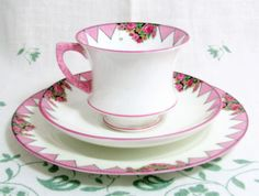 Pretty in pink, flag bunting trio... Art Deco Pink Chevron Trio Handpainted Paragon China by keepsies, £22.00