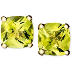 14k Gold Earrings, Peridot Cushion Studs (2 ct. t.w.) ($138) ❤ liked on Polyvore featuring jewelry, earrings, no color, peridot stud earrings, gold jewelry, multi colored stud earrings, tri color earrings and 14k gold earrings