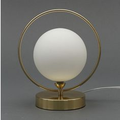 Inlight Holt Hoop Satin Brass & opal Table lamp - B&Q for all your home and garden supplies and advice on all the latest DIY trends Desk Lamp, Table Lamp, Opal, Brass, Hoop, Mirror, Satin, House Styles, Vintage