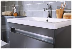 Dark grey basin storage from Utopia Bathrooms. Bathroom Sink Units, Bathroom Storage Units, Bathroom Basin, Bathroom Inspo, Bathroom Cabinets, Grey Bathroom Furniture, Dark Gray Bathroom, Dark Bathrooms, Grey Bathrooms Designs