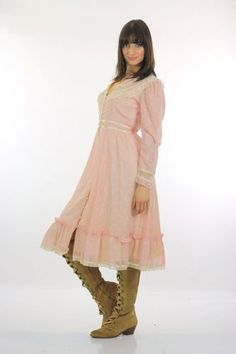 Vintage-70s-Gunne-Sax-Boho-Hippie-Prairie-Pink-sheer-party-midi-dress