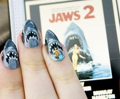 Nail art has been the most popular fad of and for Shark Week we found some crazy nail art. Also check out the reasons Spa Week is better than Shark Week. Love Nails, How To Do Nails, Fun Nails, Pretty Nails, Gorgeous Nails, Hard Nails, Crazy Nails, Amazing Nails, Glam Nails