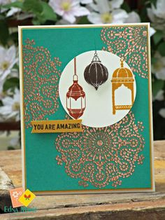 Moroccan Nights! stampin up, with copper embossing powder an new in color Emerald Envy