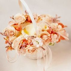 Flower Girl Basket with Silk Flowers Peach by shannonkristina, $29.00