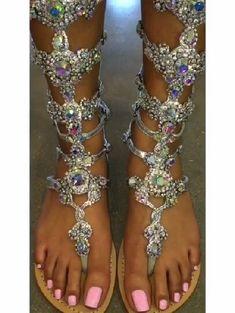 8c6de17a2b1db shoes rhinestones gladiators sandals flat flats crystal silver bling ...