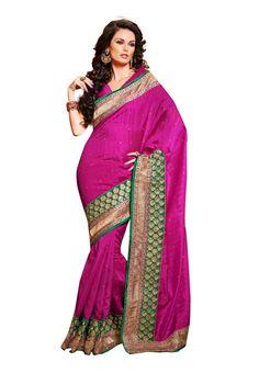 Pink with green embroidered border #bhagalpurisilksaree