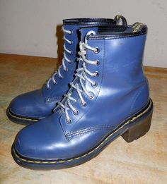Dr. Martens Air Wair Clemency Navy Blue 8 Eye Heel Boots made in England 8 N  #DrMartens #CombatBoots
