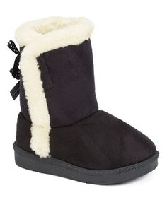 Black Faux Fur-Trim Boot
