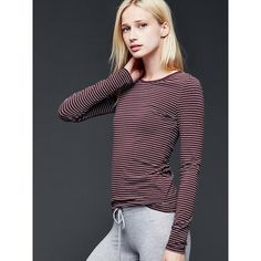 Gap Women Pure Body Smooth Cotton Tee ($20) ❤ liked on Polyvore featuring tops, t-shirts, regular, tiny stripe burgundy, long sleeve crew neck t shirts, cotton t shirts, striped tee, long sleeve t shirts and striped t shirt