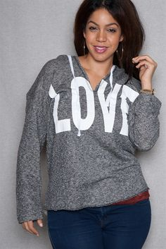 98092a3f167 Love Screen Printed Plus-Size Terry Pullover Hoodie - Charcoal from I m in