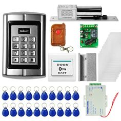 Generic Door Access Control System Kits + Electric Lock + 20 ID Keyfobs + 10 ID Cards + Power Supply + Door Bell + Remote Controller Security Camera System, Security Surveillance, Security Solutions, Home Security Systems, Access Control, Control System, Remote, Cards, Maps
