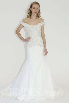 """""""The Resort"""" off-the-shoulder mermaid wedding dress with beaded lace bodice and a scoop neckline, Lela Rose"""