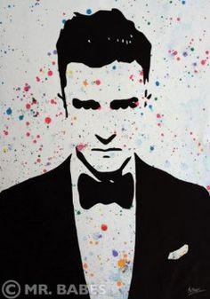 "Amazon.com: Mr. Babes ""Justin Timberlake"" Original Acrylic On Canvas Pop Art Painting: Everything Else"
