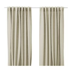 "AINA Pair of curtains - natural - IKEA: $49.99/pair - add ""fancy"" trim and viola! Nice linen curtains - on the cheap"