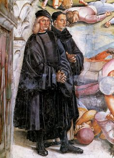 Luca Signorelli - Self-Portrait beside Giotto. detail from The Appearance of the Antichrist, 1500, fresco, Orvieto Cathedral.