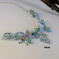 Blue Bead Necklace, Blue Wirework Beaded Necklace