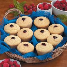 """Raspberry Corn Bread Muffins Recipe -These are my son's favorites. He calls them """"surprise muffins"""" because I pipe raspberry preserves into their centers. He likes them so much that sometimes I bake them in jumbo muffin tins, adding more preserves than I do for the regular size. -Sue Santulli, Sea Girt, New Jersey"""